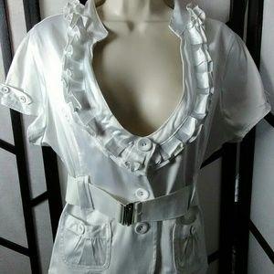 Ashley White Short Sleeve belted Jacket Top